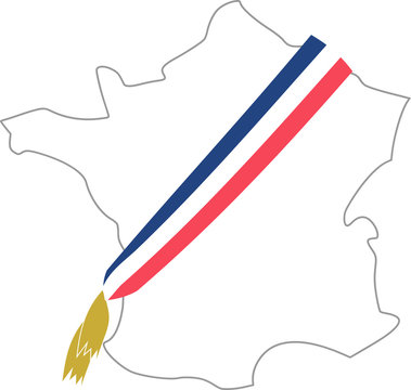 Map of France with the mayor's tricolor scarf
