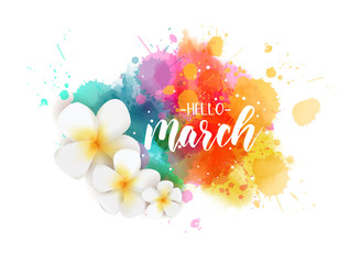 Hello March - floral spring concept background