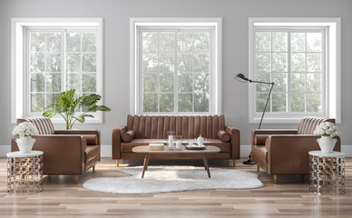 The vintage style living room is decorated with brown-orange leather sofas 3D render. The rooms have wooden floors and gray walls, with white windows offering natural views.