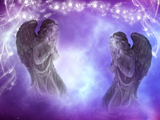 Wall Mural - two angels archangels with purple background and divine mystic lights