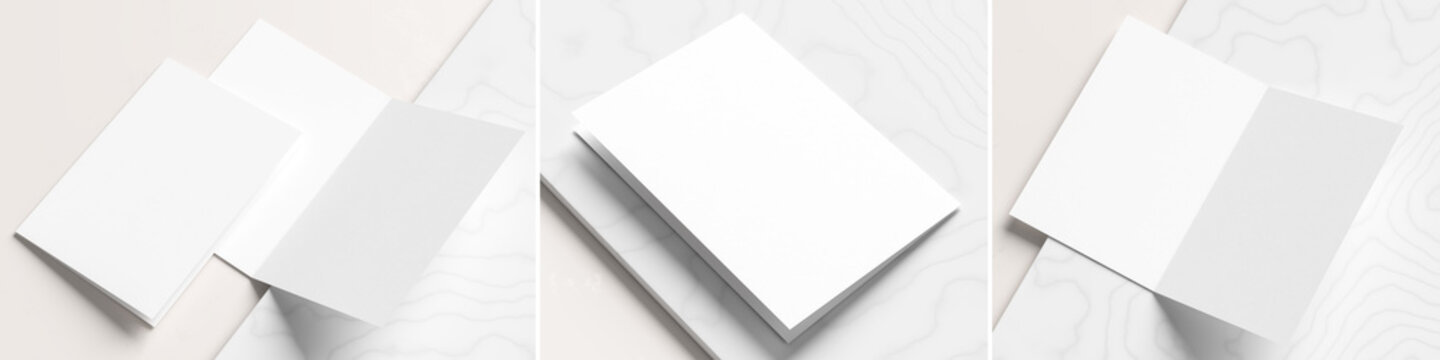 Realistic bi fold brochure or invitation mock up isolated on white marble background with three different versions.  3D illustration.