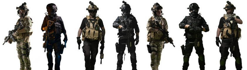 Special forces soldiers and swat team members, isolated white background