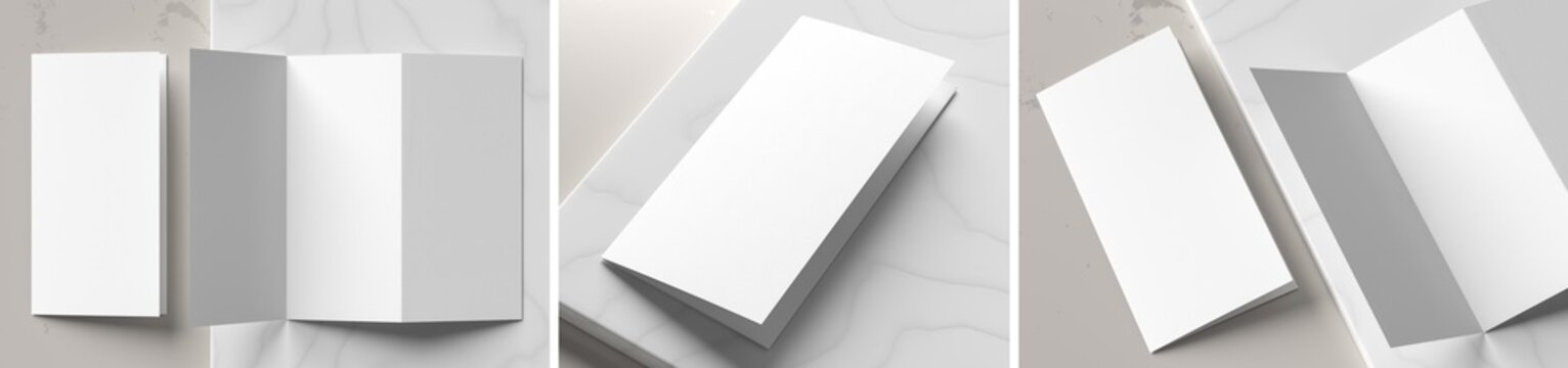 Trifold brochure mock up isolated on white marble background. Trifold brochure mock up rendered with three different variations. 3D illustration.