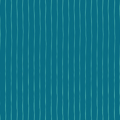 Blue vertical hand drawn stripes seamless vector background. Blue and teal abstract backdrop.