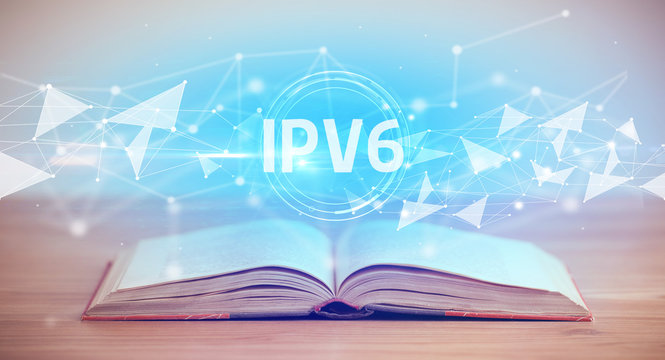 Open book with IPV6 abbreviation, modern technology concept