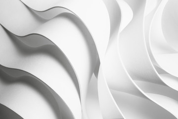 Structure with wavy white elements, abstract background.