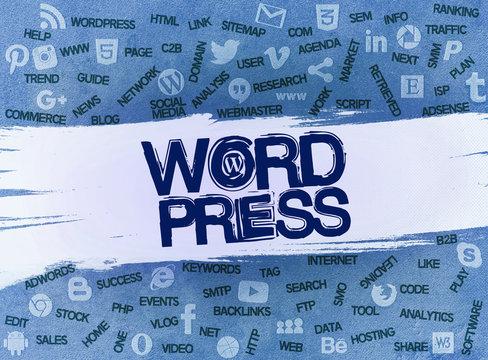 Wordpress Logos, Social Media - Istanbul, TURKEY - March 15th 2020:  3D Scene
