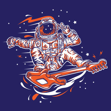 Astronaut Guitar Surfing in Space Vector Illsutration