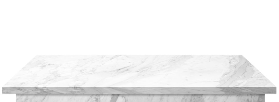 Marble top table on isolated white background, stone table