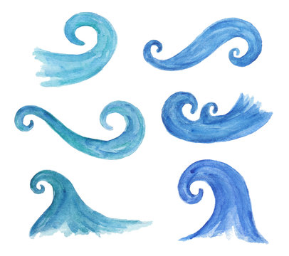 Watercolor collection of decorative waves.