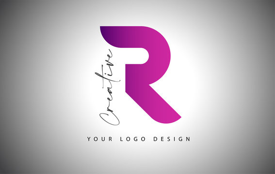 Creative Letter R Logo With Purple Gradient and Creative Letter Cut.