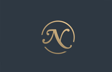 gold golden yellow alphabet letter N logo icon design for business company