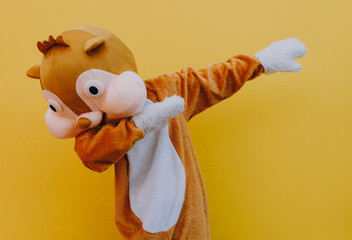 Squirrel character mascot has a message for humanity. Environmental concept about animal rights - fototapety na wymiar