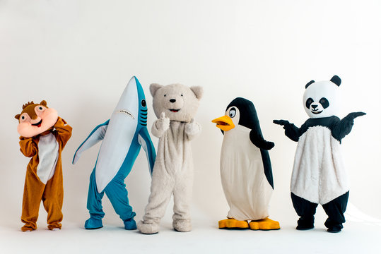 Group of animals mascots doing party