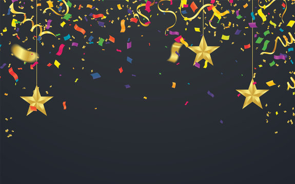 Abstract background with many falling golden tiny confetti pieces. Vector background