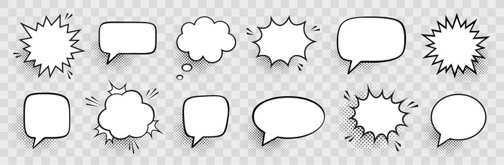 Retro empty comic speech bubbles set with black halftone shadows. Vintage design, pop art style - stock vector.