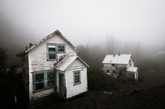 Ghost town in fog