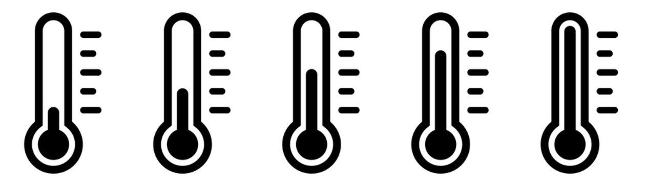 Weather Sign. Temperature icon set. Temperature Scale Symbol. Warm cold Symbol - stock vector.