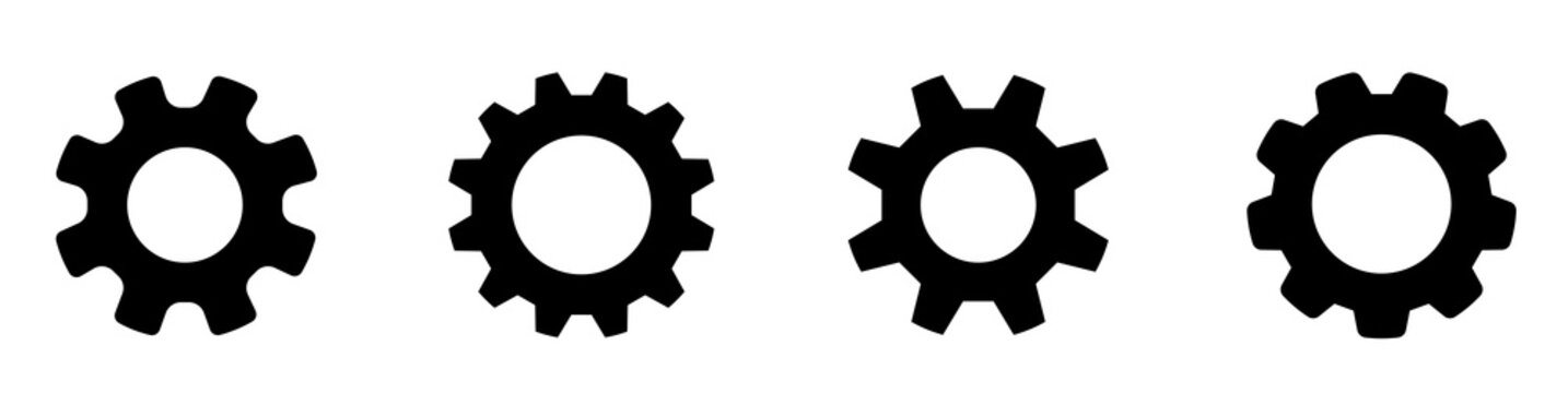 Gear set. Black gear wheel icons on white background - stock vector.