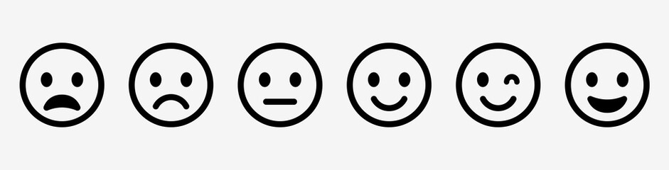 Obraz Emoticons set. Emoji faces collection. Emojis flat style. Happy and sad emoji. Line smiley face - stock vector. - fototapety do salonu