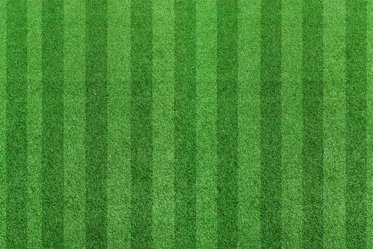 Top view stripe grass soccer field. Green lawn pattern background