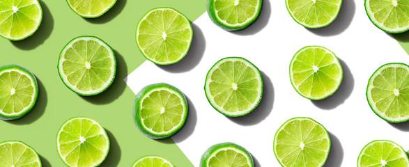 Fresh green limes overhead view - flat lay Wall mural