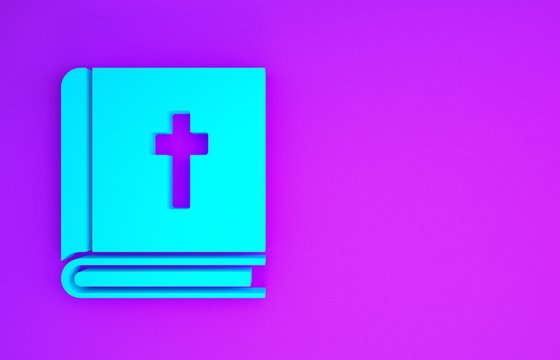 Blue Holy bible book icon isolated on purple background. Minimalism concept. 3d illustration 3D render