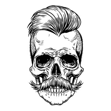 Barberman skull with mustache. Black tattoo design Hand drawn line art vector illustration for design print shirt, poster, textiles, tattoo, cover