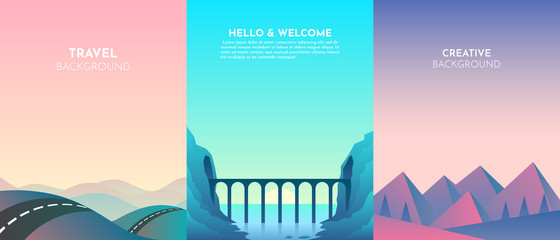 Vector landscapes in a minimalist style. Set of 3 backgrounds. Road over the mountains, lake, sunset, night, bridge, tunnel in the rock over the river. Website template. UI design Fotomurales
