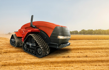 Wall Mural - Autonomous tractor working on the field. Smart farming