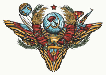 USSR. Old school tattoo. State Emblem of Soviet Union, sickle and hammer, Kalashnikov rifle and space satellite. Propaganda art. Communism and socialism