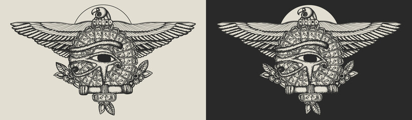 Ancient Egypt art. Sacred golden eagle and sun. Horus eye and egyptian falcon. Template for clothes, covers, emblems, stickers, poster and t-shirt design