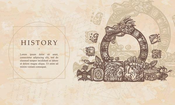 History. Ancient Maya Civilization. Kukulkan. Feathered Serpent and glyphs. Quetzalcoatl. Mesoamerican mexico mythology. Renaissance background. Medieval manuscript, engraving art