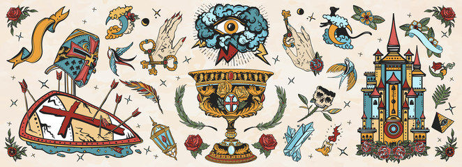 Medieval old school tattoo collection. Warrior crusader, sacred holy grail, ancient castle, occult hands, all seeing eye, sword and arrows. Middle age art. Traditional tattooing style
