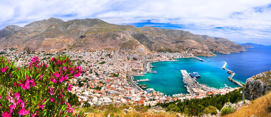Travel in Greece - beautiful Kalymnos island, Dodecanese. view pf Pothia town from agios Savvas monastery