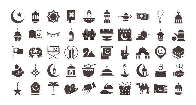 ramadan arabic islamic celebration icon set silhouette style icon