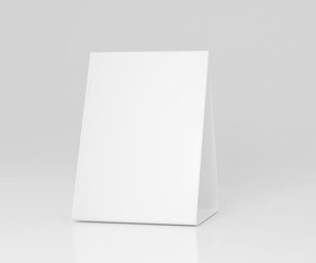Promotional table talker isolated on white background, mockup template paper tri-fold vertical triangle cards with reflections. white sheets front & left and right view. 3d render