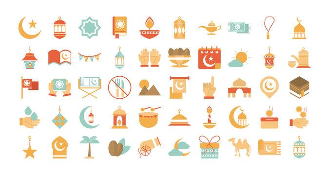 ramadan arabic islamic celebration icon set tone color icon