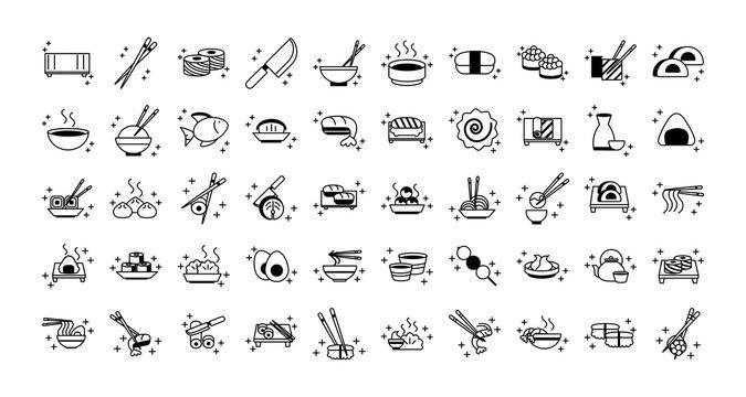 sushi oriental menu icons set line style icon