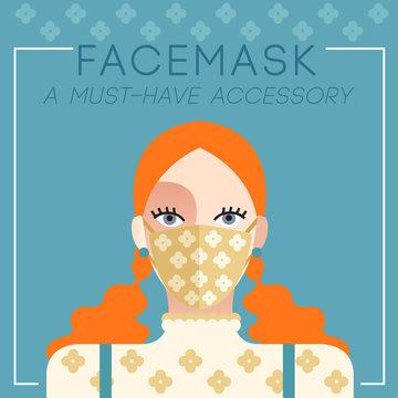 Set of trendy women wearing stylish surgical mask : Vector Illustration