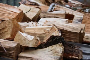 Door stickers Firewood texture gespaltenes Brennholz zum Heizen
