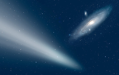 Wall Mural - Comet on the space with Andromeda Galaxy