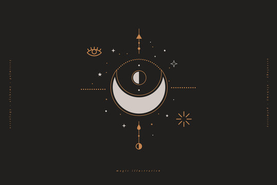 Mystical composition with a crescent, eye, stars and on a dark background. Boho style and esoteric. Ethnic magic and astrological symbols. Vector illustration.