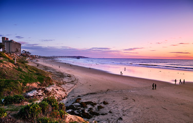Fototapete - Sunset north of Pacific Beach, California, at the end of a rainy Winter day