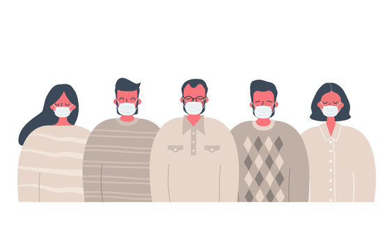 People in medical antivirus masks. Stay safe concept. There are men and women in the picture. Vector illustration in flat style
