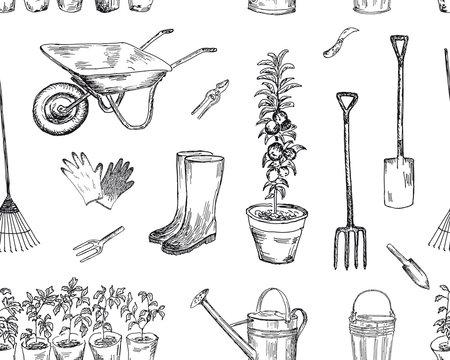 Gardening seamless pattern. Vector sketches hand drawn