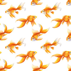 Seamless pattern. Background with Goldfish. Aquarium fish of Golden color. Watercolor, realistic illustration . Pet, decorative animal. magic haddock