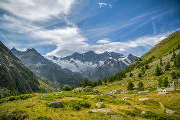 Wall Mural - Beautiful view on Swiss Alps above the small village of Saas-Fee