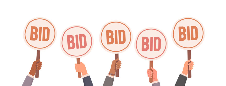 Auction bidding. Hands holding bids. Auction and bidding concept. Sale and buyers. Vector illustration