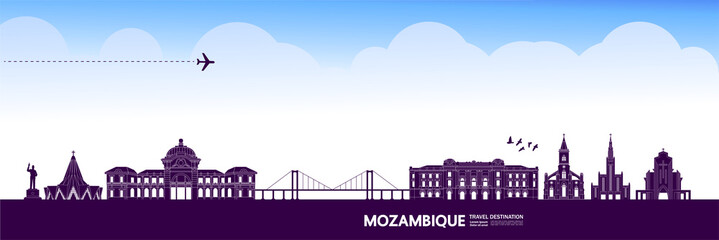 Mozambique travel destination grand vector illustration.